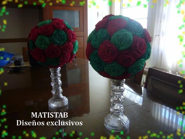 Candelabro Con Decoración De Esfera En Rosas De Papel!! -  250,00 ...