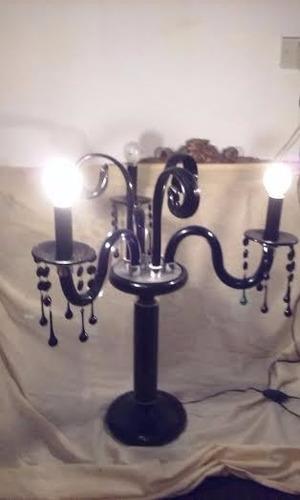 candelabro de cristal negro de 3 luces