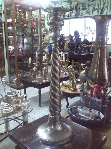 candelabro de iglesia en bronce con baño en plata antiguo