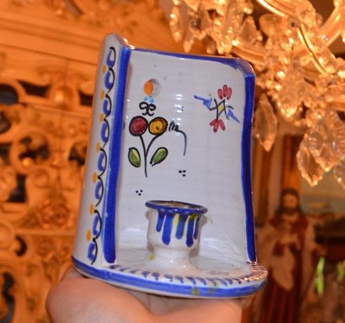 candelabro de porcelana pintada a mano.