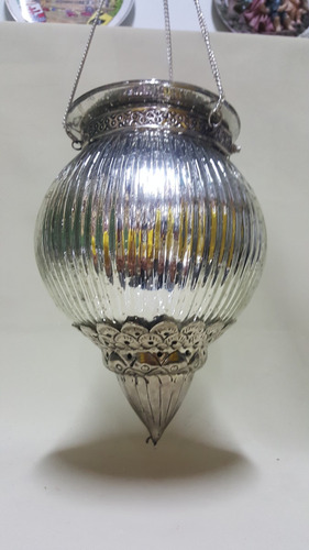 candelabro de techo hindu en bronce y cristal baño plata