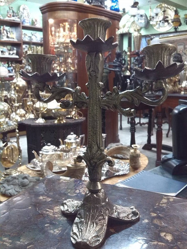 candelabro en bronce antiguo macizo de 3 velas