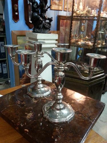 candelabro frances antiguo bronce baño plata tres velas