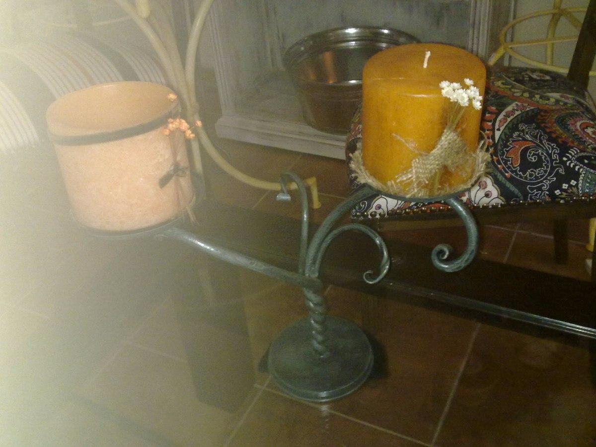 Candelabro hierro forjado velas pantallas fabrica - Fabrica tu lampara ...