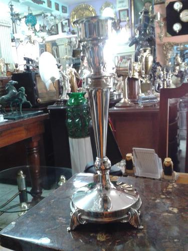 candelabro italiano en bronce y baño de plata tallado 1 vela