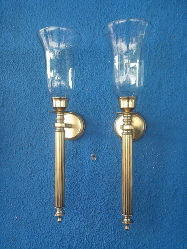 candelabro pared hindu antiguo bronce y cristal precio x c/u