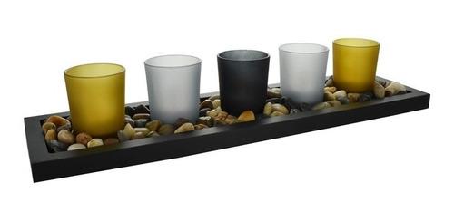 candelabro velas led - vidrio color x5 22146 - el clon