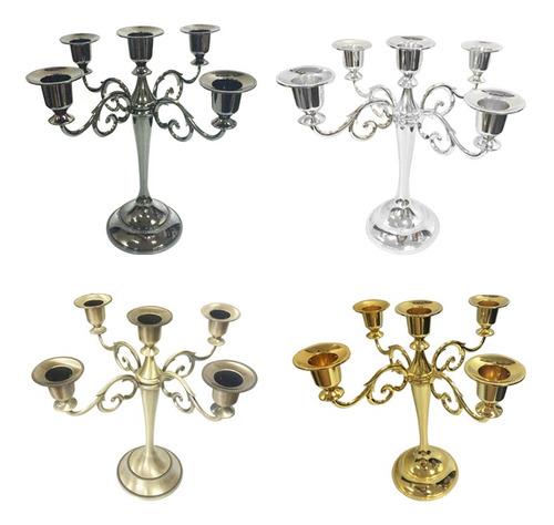 candelabros de boda de metal con 5 brazos, color plateado