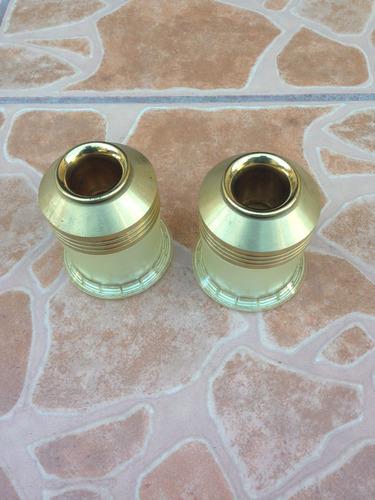 candelabros de bronce y plastico  con vaso de cristal¡¡¡¡¡¡¡