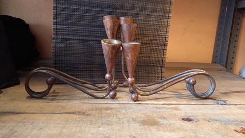 candelabros de cobre y bronce antiguos siglo 19
