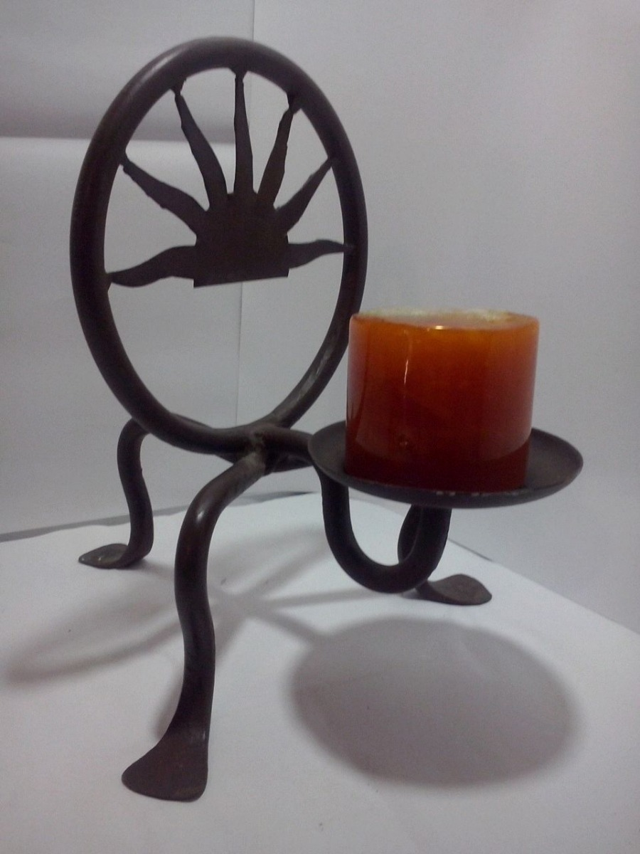 Candelero artesanal hierro plato con punta p velas soporte en mercado libre - Soporte para velas ...