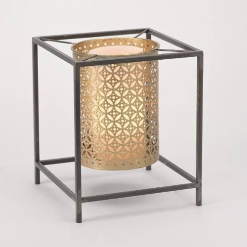 candelero metal dorado - negro këssa muebles