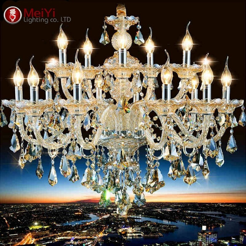 candil cristal cortado 15 luces 90x80cm candelabro led