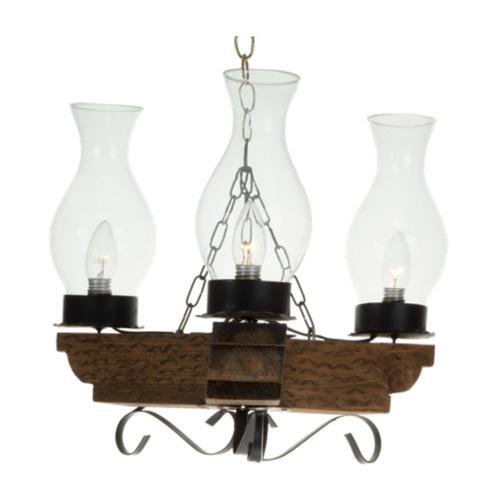 candil rustico crucet herreria madera  cristal 3 luces  bomb