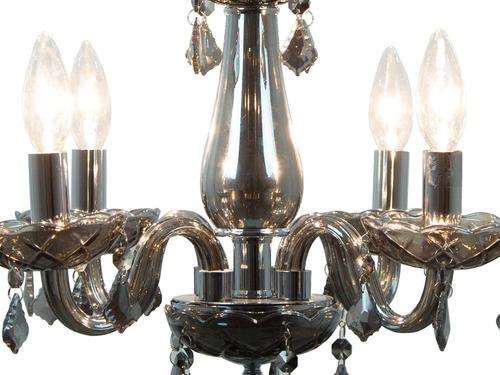 candil vintage de cristal negro traslúcido e12 4 luces