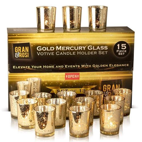candiles portavelas dorado set 15 vidrio boda o decoración
