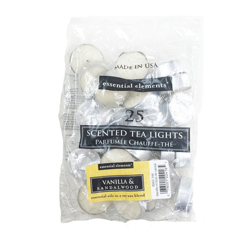 candle-lite candela tealights vanilla & sandalwood 25