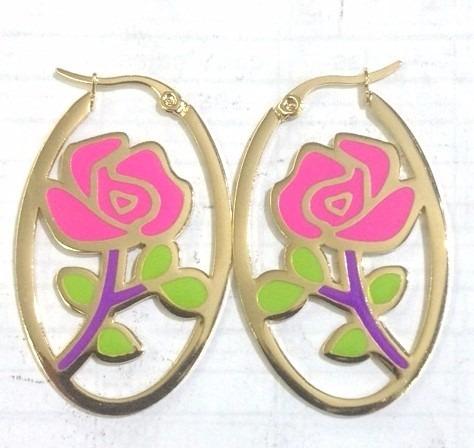 candongas en acero inoxidable le sak rosas - dorado