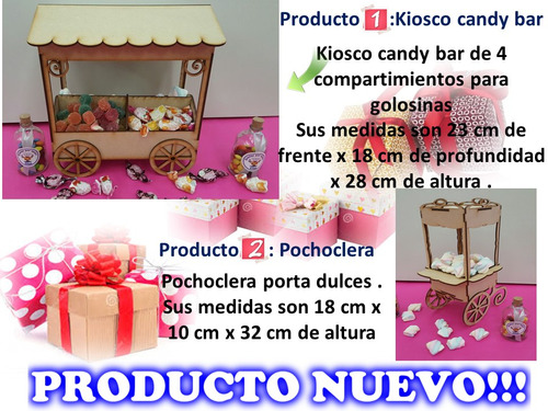 candy bar 4 productos corte laser combo candy bar