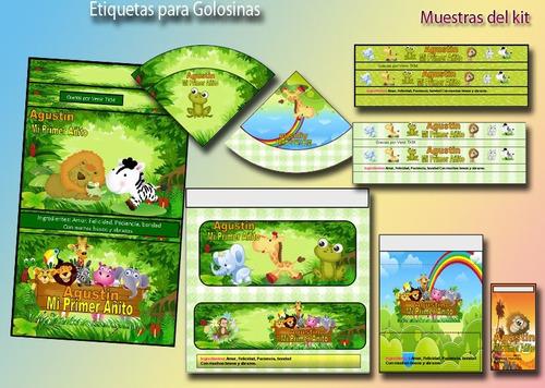 candy bar animalitos de la selva primer añito  kit imprimibl