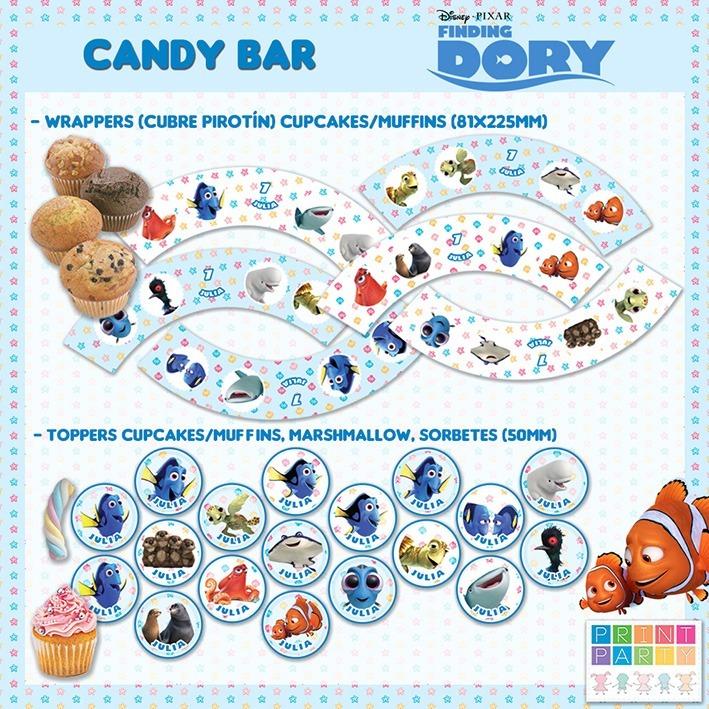 Candy Bar Buscando A Dory Disney Imprimible Personalizado - $ 149,00 ...