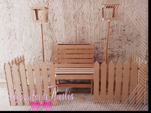 candy bar combo  banco plaza + mesa cubo, cercos y faroles