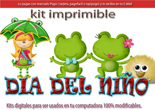 candy bar dia del niño kit imprimible  cotillon golosinas