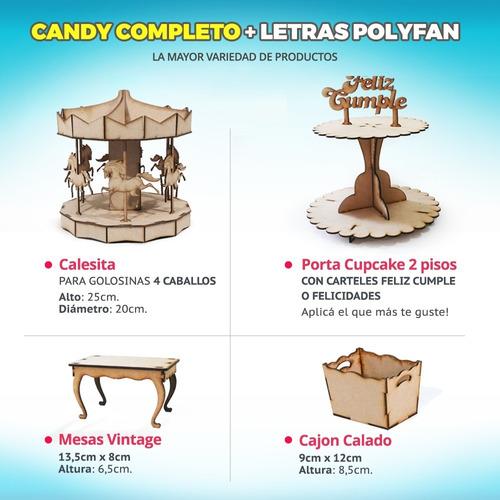 candy bar fibrofacil + letras huecas polyfan candybar combo
