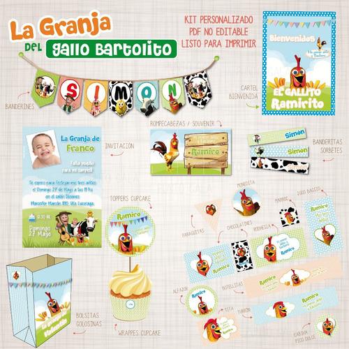 candy bar gallo bartolito zenon kit imprimible personalizado