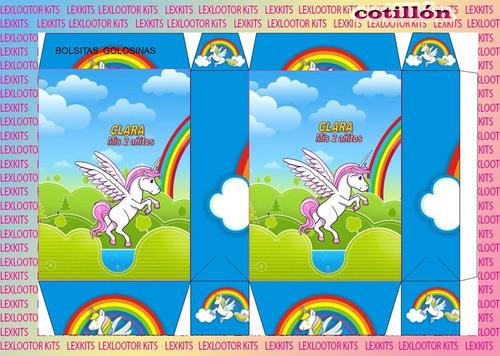 candy bar kit imprimible unicornio  tarjetas cumple (2x1)