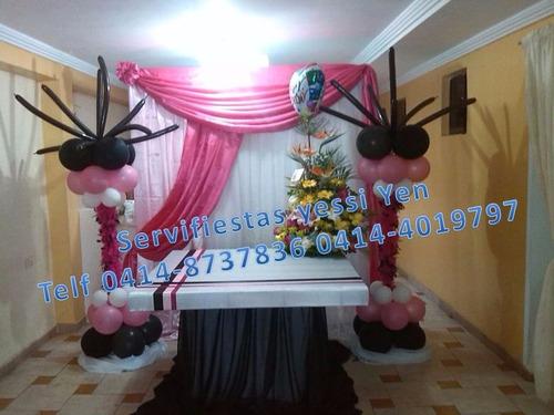 candy bar mesas especiales decoración con telas globos y mas