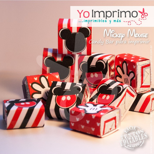 candy bar mickey mouse, kit imprimible, fiestas, cumpleaños