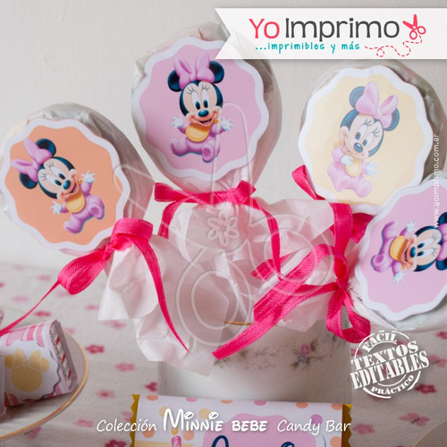candy bar minnie bebe, kit imprimible, fiestas, cumpleaños