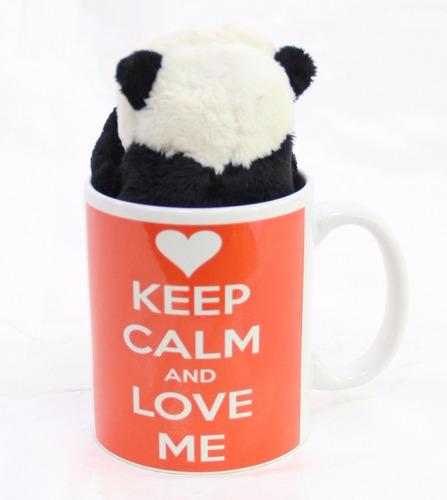 caneca 330 ml + ursinho panda de pelúcia com 15cm namorados