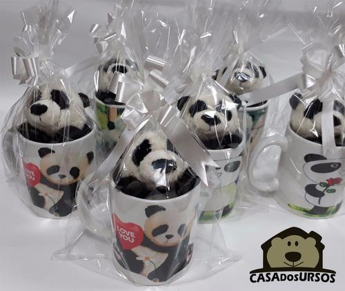 caneca 330ml + urso panda de pelúcia com 15cm namorada amor