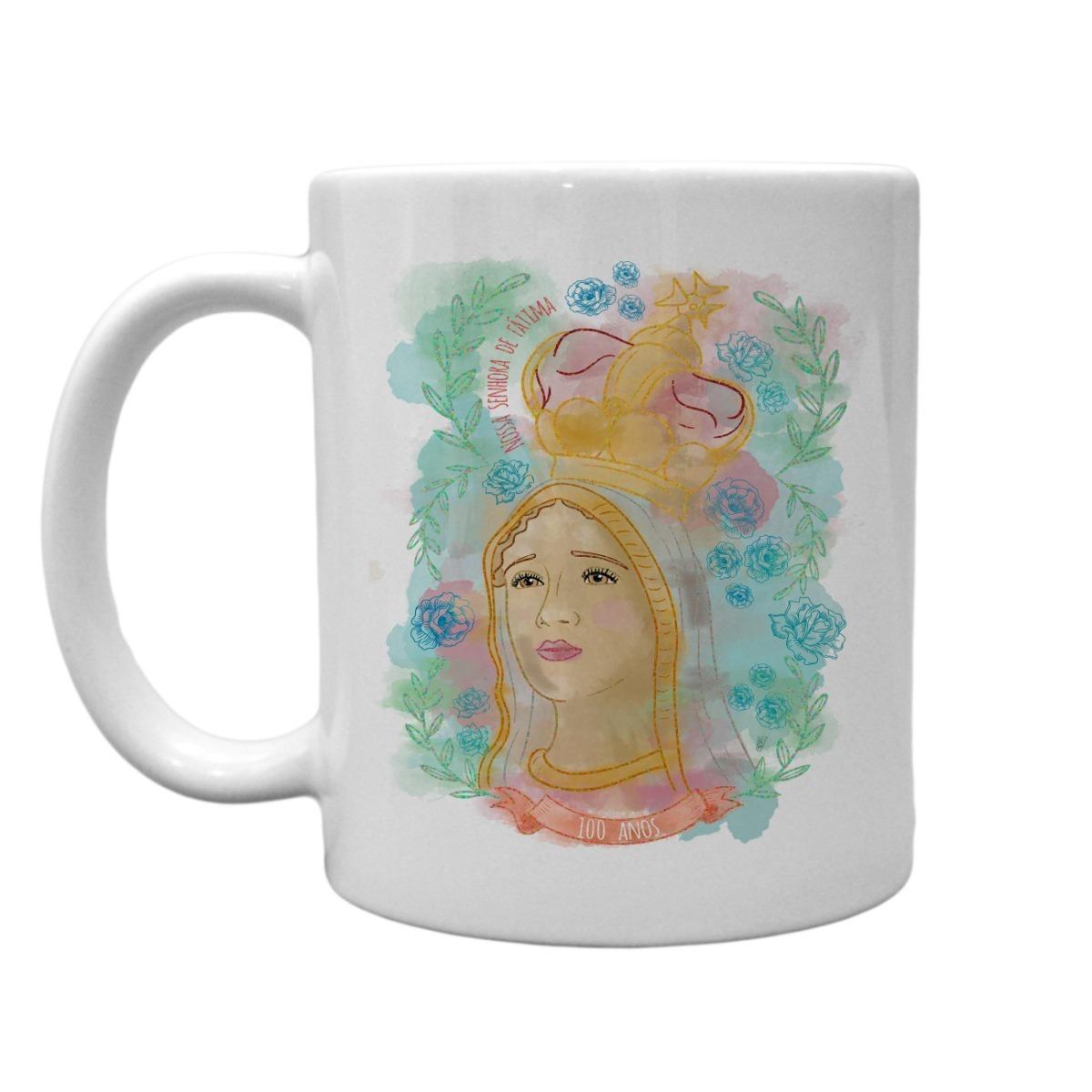 Caneca Branca Nossa Senhora De Fatima Desenho Aquarela Fe 28 R