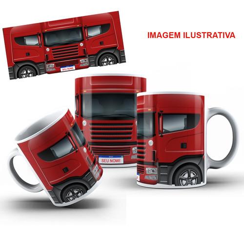 caneca caminhão personalizada com seu nome + caixinha
