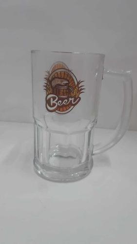 caneca chopp de vidro transparente personalizada 340 ml
