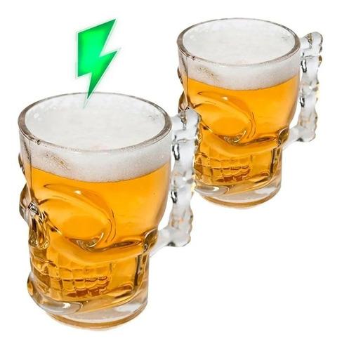 caneca chopp e cerveja de vidro caveira rock style 365ml 2un