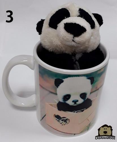 caneca com ursinho panda 15cm para presente com mensagem