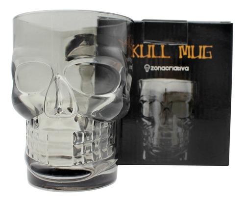 caneca de chopp caveira 3d vidro 500ml crânio fumê skull mug