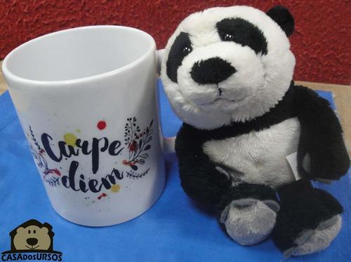 caneca de porcelana 330ml + ursinho panda imagem rede bambu