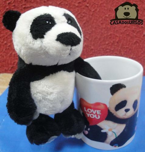 caneca de porcelana com urso panda 15cm - love you te amo