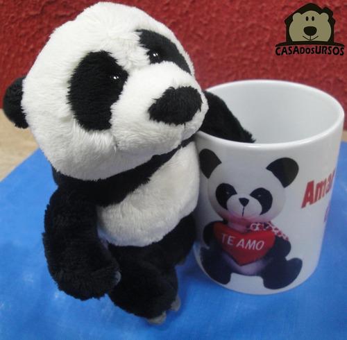 caneca de porcelana com ursos pelúcia panda 35 cm + 15 cm