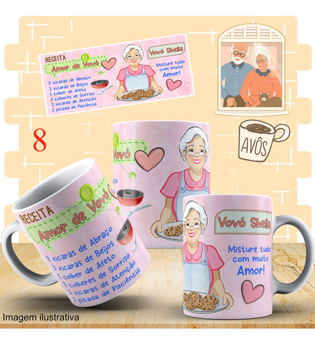 caneca de porcelana dia dos avós + caixinha para presente