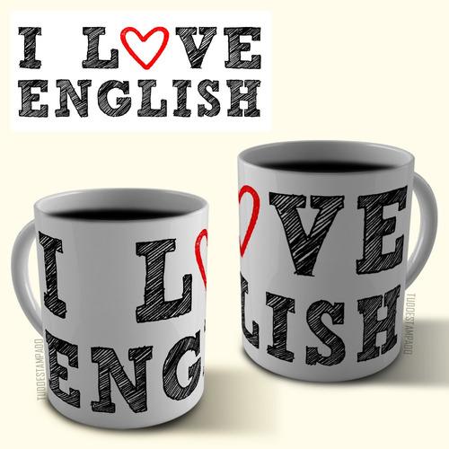 caneca de porcelana personalizada - inglês, i love english