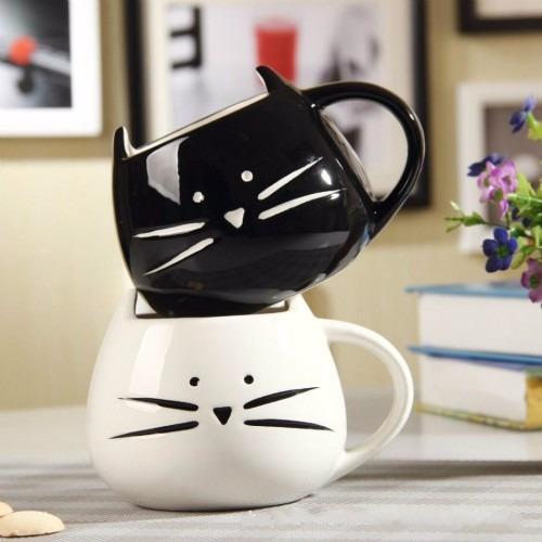 caneca de porcelana preto artesanato gato de bigode 390ml