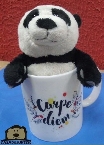 caneca de porcelana + urso panda presente amigo carpe diem