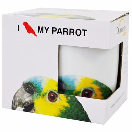 caneca em porcelana i love my pet papagaio parrot 340 ml