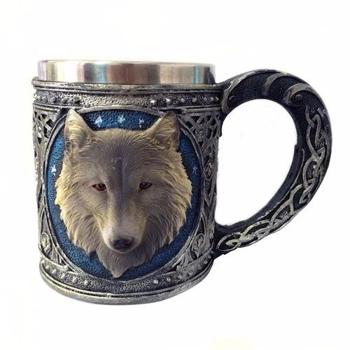 caneca medieval lobo - hidromel - cerveja - vinho